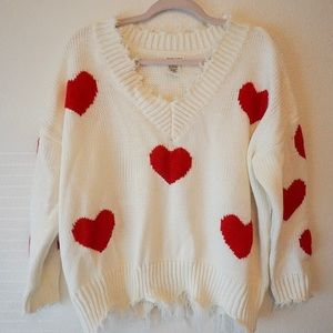 ADORABLE WHITE AND RED HEART KNIT SWEATER